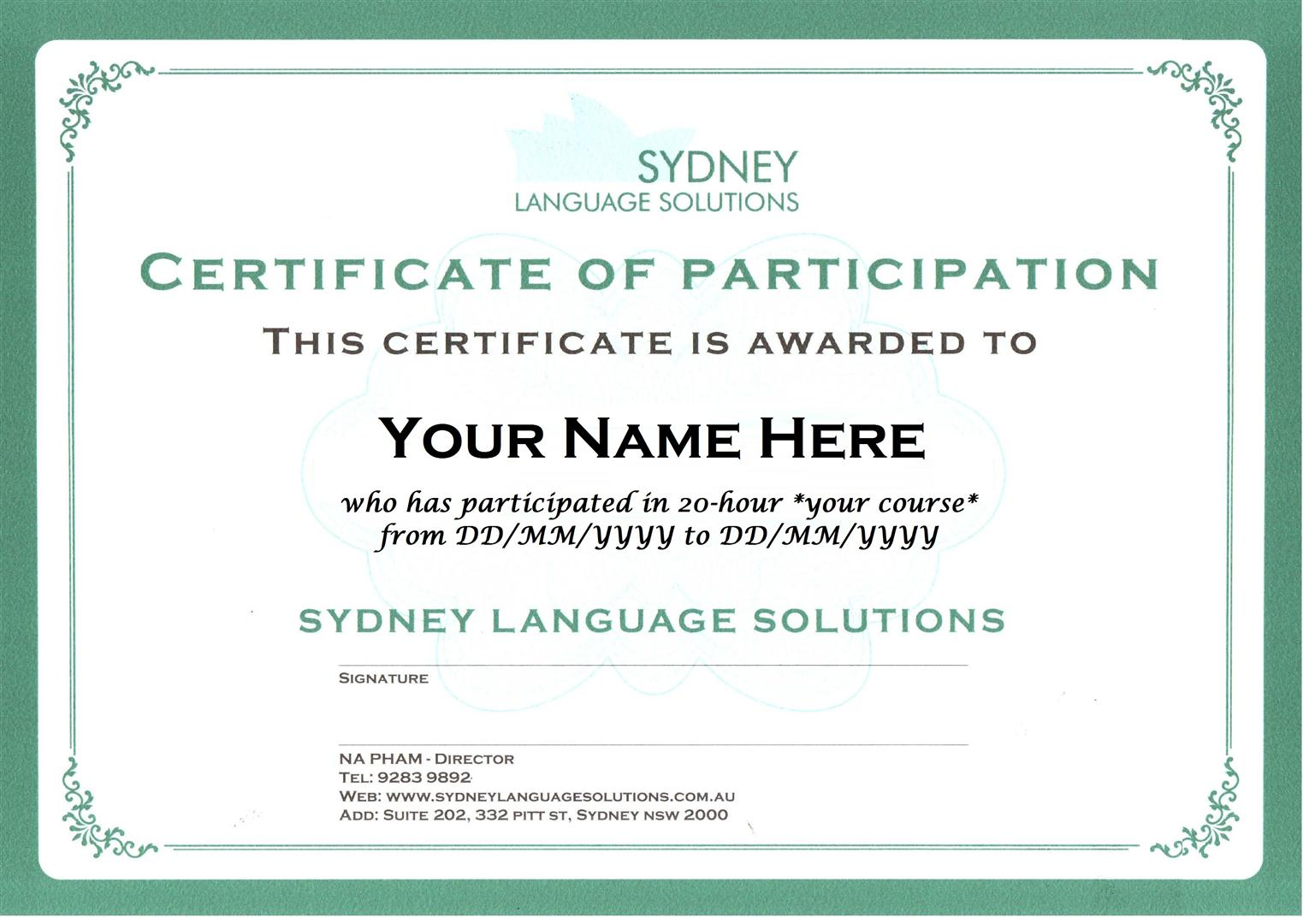Sydney Language Solutions Certificate of Participation