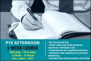 PTE- 3 week course poster