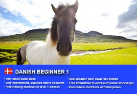 AffordableDanish Beginner 1 Course in Sydney CBD with small classes! Learn basic conversational proficiency over the 10-week course with free materials.
