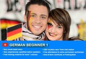 Affordable German Beginner 1 Course in Sydney CBD with small classes! Learn basic conversational proficiency over the 10-week course with free materials.
