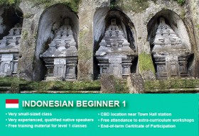 IndonesianBeginner 1 Course in Sydney CBD with small classes! Learn basic conversational proficiency over the 10-week course with free materials.