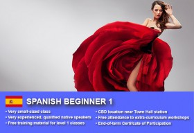 Spanish Beginner 1 Course in Sydney CBD with small classes! Learn basic conversational proficiency over the 10-week course with free materials.