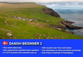 Learn Danish Beginner 2 in Sydney CBD with small classes! Improve your conversational proficiency over 10 weeks with free course materials.