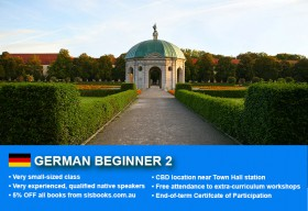 Learn German Beginner 2 in Sydney CBD with small classes! Improve your conversational proficiency over 10 weeks with free course materials.