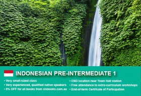 IIndonesian Pre-Intermediate 1 Course in Sydney CBD with small classes! Advance your conversational proficiency over 10 weeks with free materials.