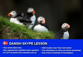 Improve your Danish language skills with tutorials via Skype. Different lesson durations and flexible times are available to suit your learning needs.