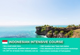 Intensive Indonesian Beginner 1 Course in Sydney with small classes and free materials! Quickly learn basic conversational proficiency over just four weeks.