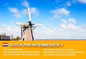 Affordable Dutch Pre-Intermediate 1 Course in Sydney CBD with small classes! Advance your conversational proficiency over 10 weeks with free materials.