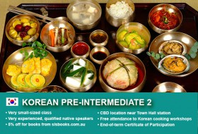 Korean Pre-Intermediate 1 Course in Sydney CBD with small classes! Advance your conversational proficiency over 10 weeks with free materials.