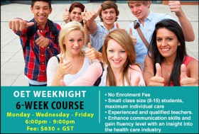 Prepare for the OET Exam with an intensive course in Sydney CBD on weeknights. Improve exam skills and strategies to achieve successful OET results.