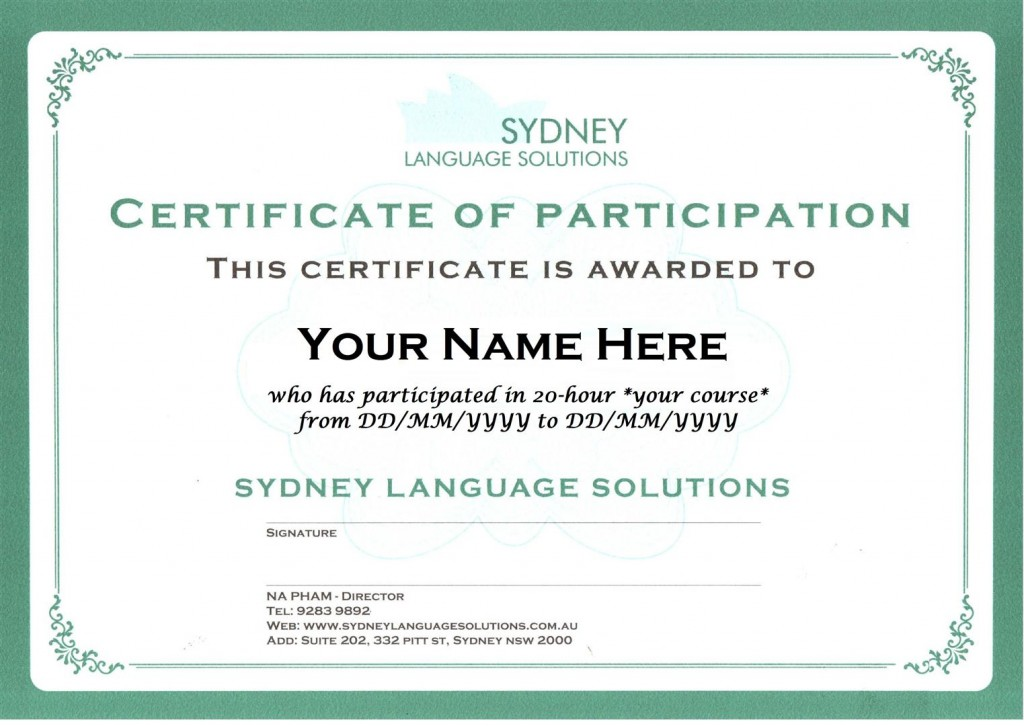 Certificate | Sydney Language Solutions