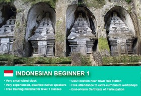 Indonesian Beginner 1 Course in Sydney CBD with small classes! Learn basic conversational proficiency over the 10-week course with free materials.
