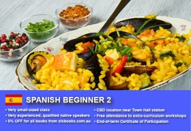 Learn Spanish Beginner 2 in Sydney CBD within small classes! Improve your conversational proficiency over 10 weeks with free materials.
