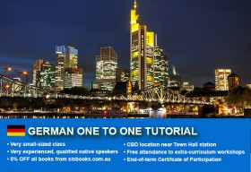 Improve your German  language skills with tailored private tutorials in Sydney CBD. Flexible times are available to suit your needs.