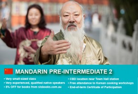 Affordable Mandarin Pre-Intermediate 2 Course in Sydney CBD with small classes! Advance your conversational proficiency over 10 weeks with free materials.