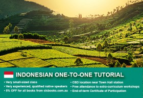 Improve your Indonesianlanguage skills with private tutorials in Sydney CBD. Flexible times are available to suit your needs.