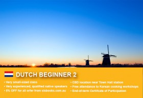 Learn Dutch Beginner 2 in Sydney CBD with small classes! Improve your conversational proficiency over 10 weeks with free course materials.