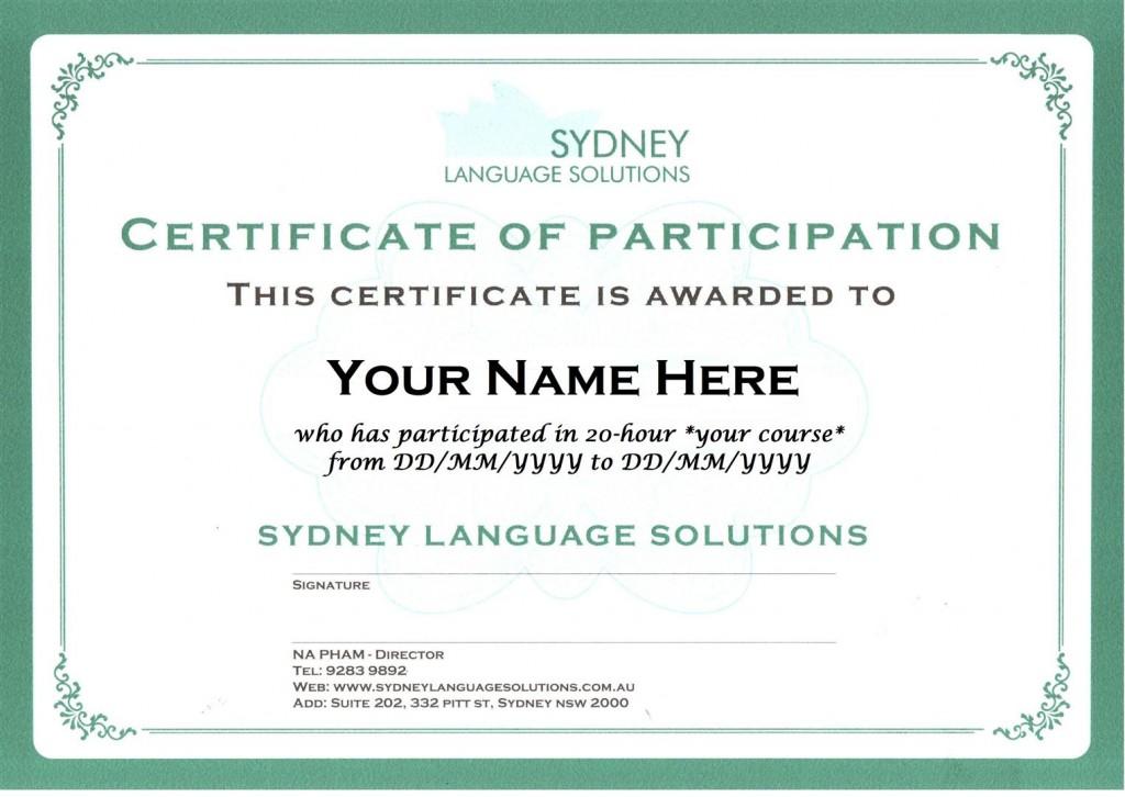 certificate sydney language solutions
